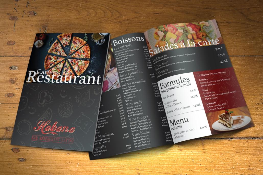 Carte de restaurant pour l'Habana Café