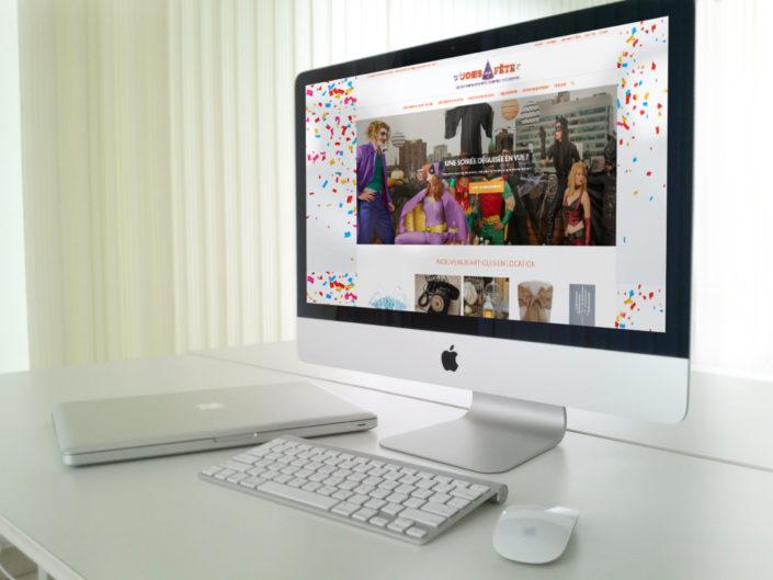 Site web dédié aux articles en locations pour le magasin Les Joies de la Fête